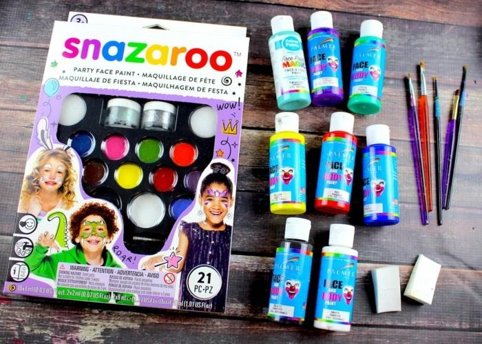 kit de maquillage snazaroo, peintures de couleurs différentes pour réaliser un maquillage halloween simple