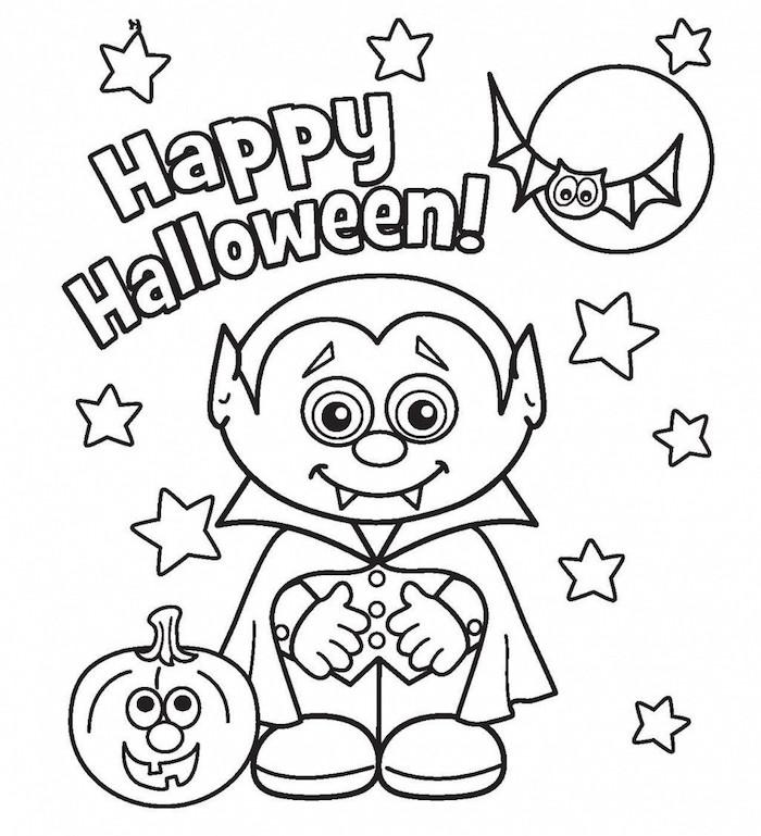 deco halloween a imprimer et colorier avec petit vampire citrouille et chauve souris pour fêter bon halloween