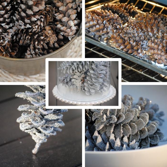 étapes pour faire une décoration de Noel facile avec pommes de pin décorées en peinture glitter à effet neige