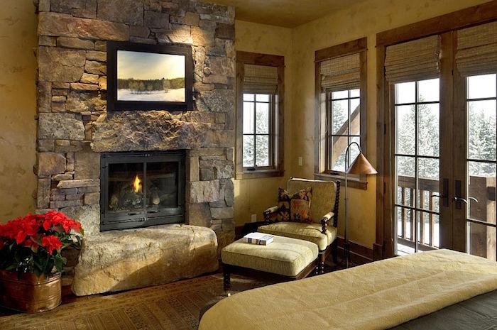 intérieur vintage avec mur en pierres parement atour de la cheminée pour note authentique