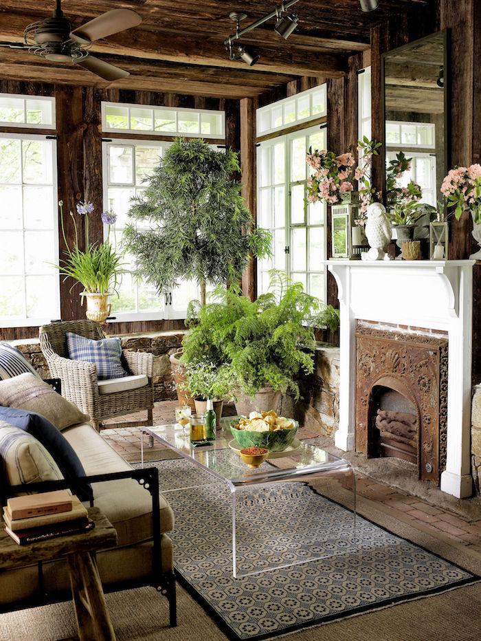 salon rustique avec structure et charpente en bois, végétation d'intérieur, cadre de cheminée en métal forgé vintage
