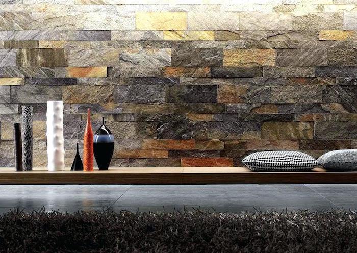 modele de plaquette de parement pierre et cuivre et or pour déco intérieur imitation mur en pierres