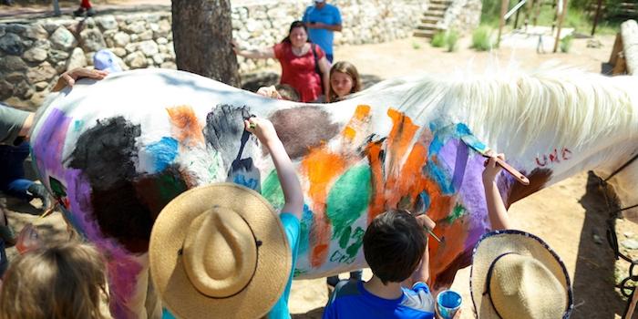 peindre sur un cheval avec de la peinture effaçable, idée d anniversaire inspiration western, campagne, anniversaire 9 ans
