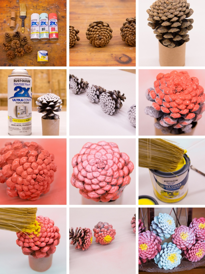 tutoriel pour peindre des pommes de pins comme fleurs, faire une deco avec pomme de pin, loisir créatif avec matériaux recyclés