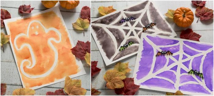 un projet d'art sur le thème d'halloween à la peinture au sucre, peintures fantôme et toile d'araignée à réaliser avec les enfants en maternelle