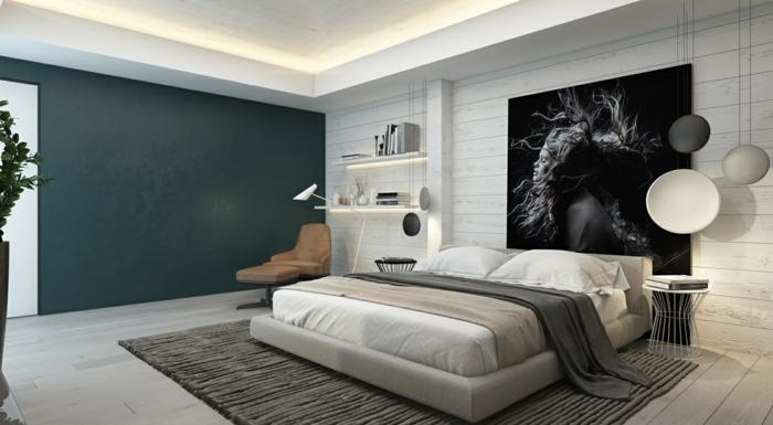 chambre à coucher en gris et blanc, lit plateforme, portrait monochrome, deco peinture chambre monochrome