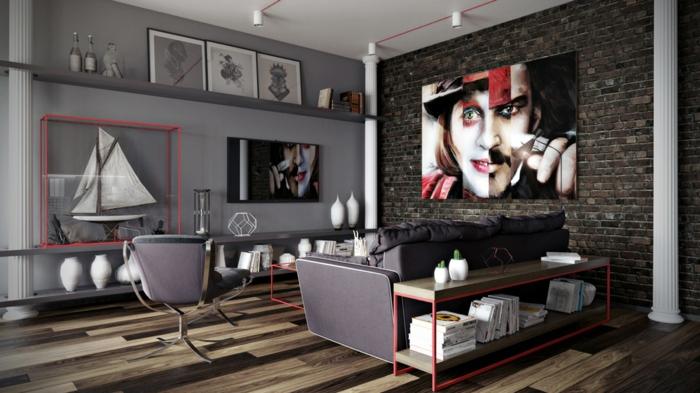 couleur mur salon gris anthracite, sofa gris, grand portrait extravagant, étagères murales