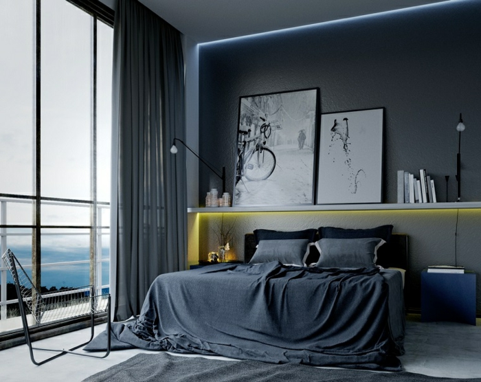 couleur peinture pour chambre, tête de lit lumineuse avec rangement, grandes peintures, deco peinture chambre