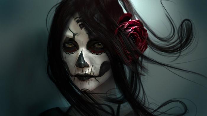 peinture sur visage en noir et blanc, cheveux noirs, rose vermeil dans les cheveux, visage tête de squelette