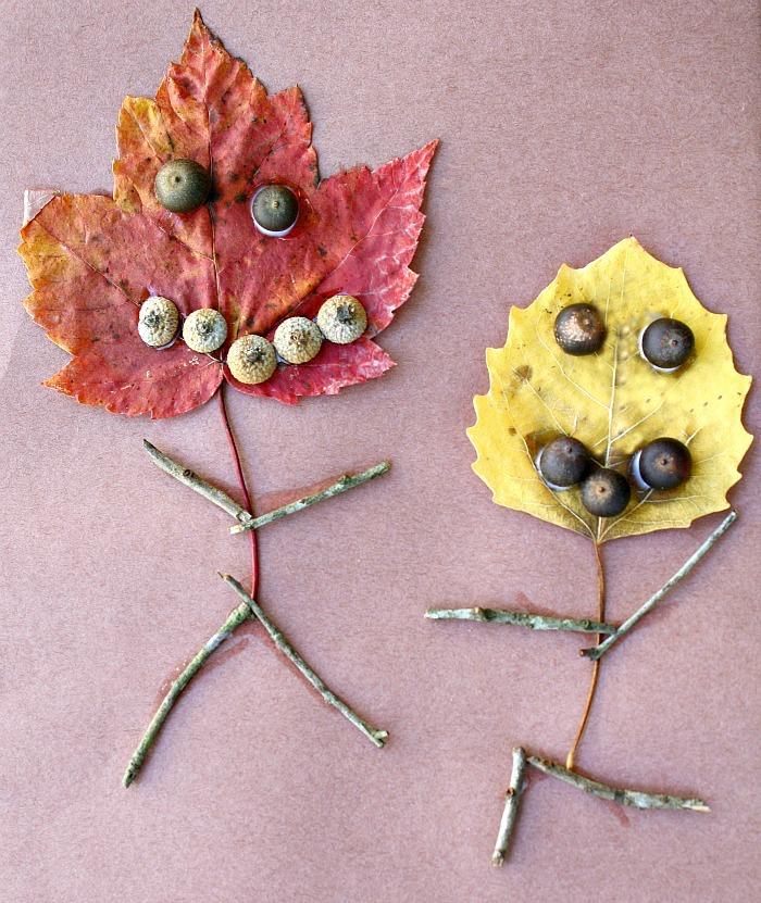 bonhomme en feuille morte, glands et brindille, land art facile pour enfants, activité créative sur l automne