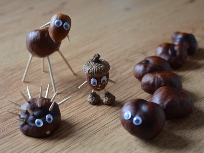 marrons transformés en bonhommes et animaux hérisson et brebis, bricolage facile avec des yeux mobiles et cure dents