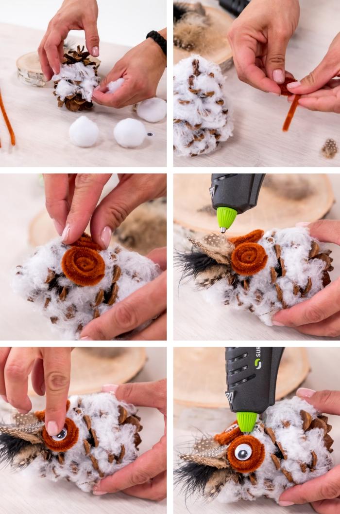 technique de réalisation de figurine animalière facile, comment créer le visage d'un hibou en pommes de pin