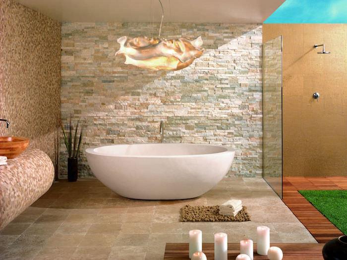 plaquette de parement pierre colorées pour déco de salle de bain moderne et design