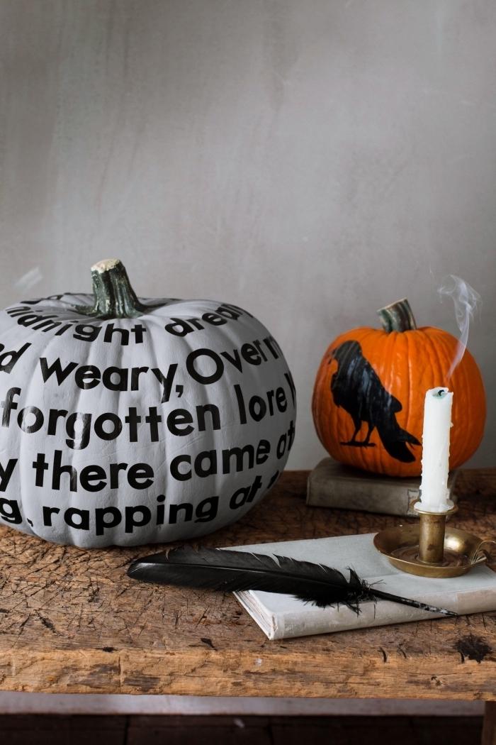 modèle potiron halloween peint en gris et noir, courge halloween avec dessin animalier effrayant, idée déco facile halloween