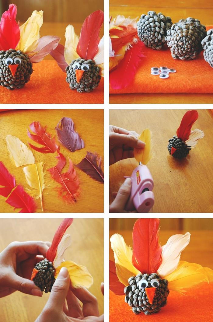tutoriel pour apprendre à réaliser des figurines animalières en matériaux recyclés, diy paon en pomme de pin et plumes colorées