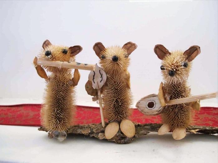souris mignons diy en pommes de pin, réaliser une figurine animalière en matériaux naturels, activité manuelle automne