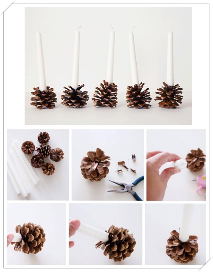 étapes à suivre pour fabriquer un porte-bougie facile diy, modèle bougeoir en matériaux recyclés, porte-bougie en pomme de pin
