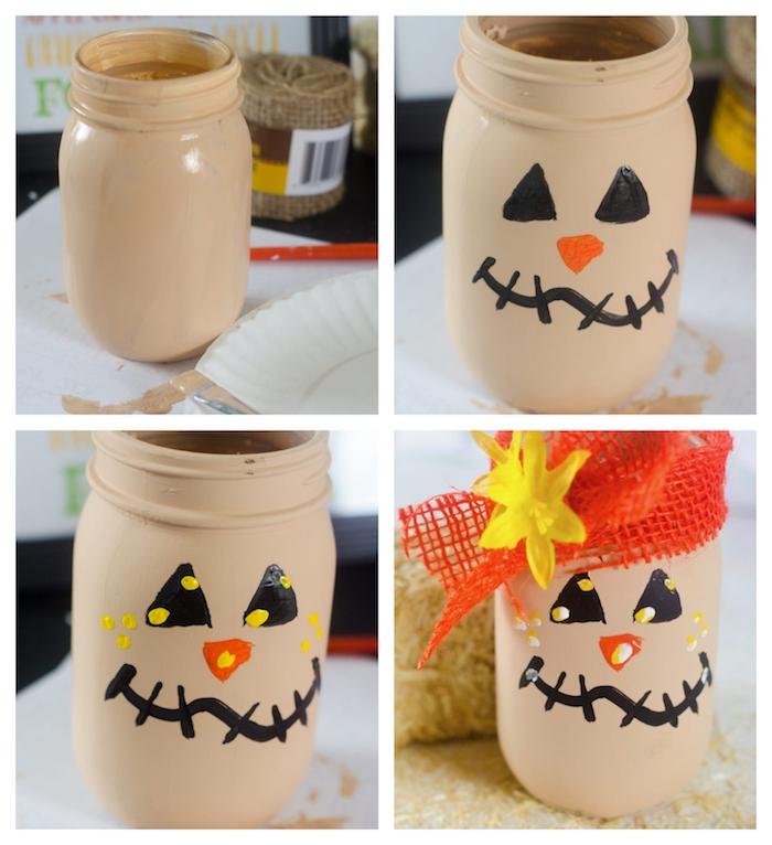 motif jack o lantern, épouvantail sur un pot de verre décoré de peinture marron clair avec dessin traits de visage