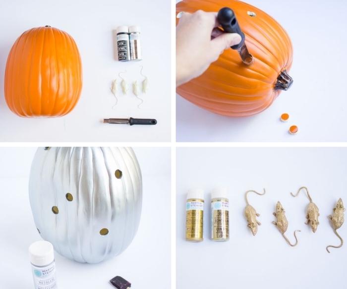 étapes à suivre pour réaliser une jolie décoration de citrouille d'Halloween peinte en gris métallique avec quelques souris en plastique