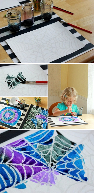 technique de peinture avec de l'aquarelle et du sel pour faire une jolie toile d'araignée, activité halloween pour déclencher la créativité des enfants