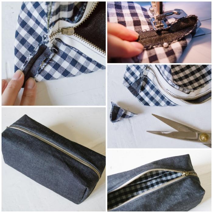 tuto trousse de toilette en denim doublée et zippée pour ceux qui débutent dans la couture, comment poser une fermeture éclair à une pochette diy