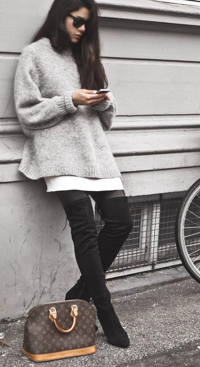 Tenue cuissarde en cuir pour lycée, look avec cuissarde, tenue avec cuissardes 2018 tendances, sac à main Luis Vuitton