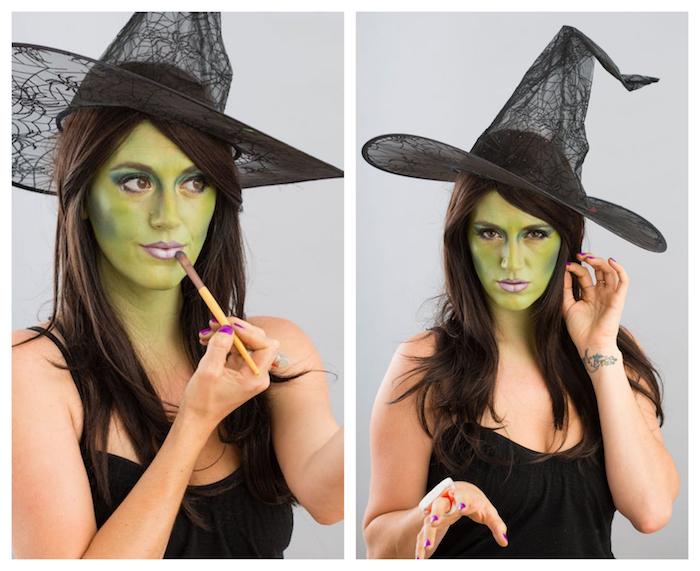 comment choisir son rouge à lèvres sorcière, idée de rouge a levres couleur mauve, réussir son maquillage sorcière d oz, visage vert
