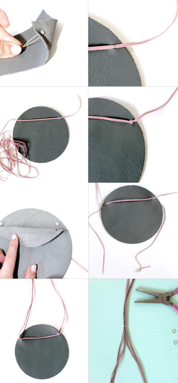 diy pochette de forme ronde découpé dans du simili cuir gris, assemblé à l'aide des attaches parisiennes et un lacet en cuir