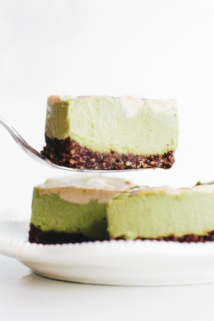 recettes healthy et vegan avec thé vert matcha, cheesecake vegan sans cuisson et sans gluten