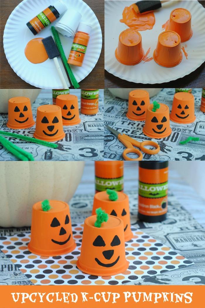 gobelets en papier décorés de peinture orange et noire pour créer un motif jack o lantern, deco halloween a faire soi meme