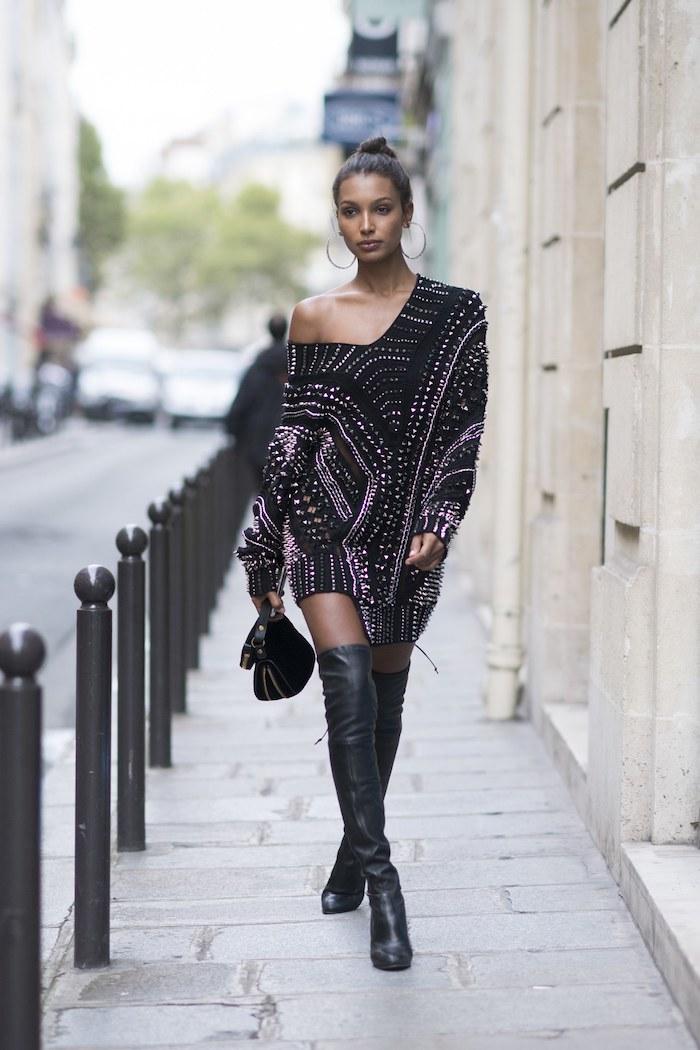 Look avec cuissardes moderne, idée look avec cuissarde cuir chic, tenue avec cuissardes simple