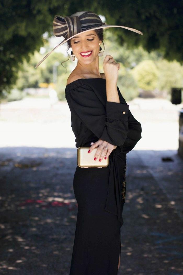 robe de soirée longue pour mariage, grand chapeau avec périphérie avec un grand noeud décoratif, sac doré