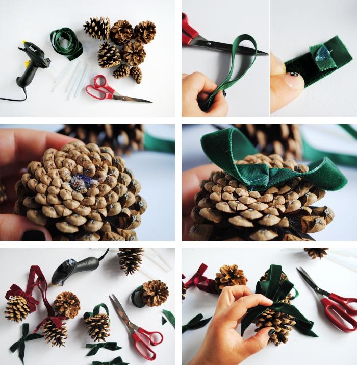 apprendre à faire un ornement de sapin de noel facile, modèle déco de sapin en pommes de pin avec ruban