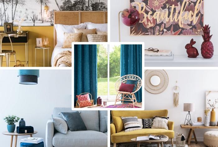 idée comment décorer son intérieur selon les tendances déco automne-hiver, design intérieur moderne avec motifs ethniques et couleurs neutres