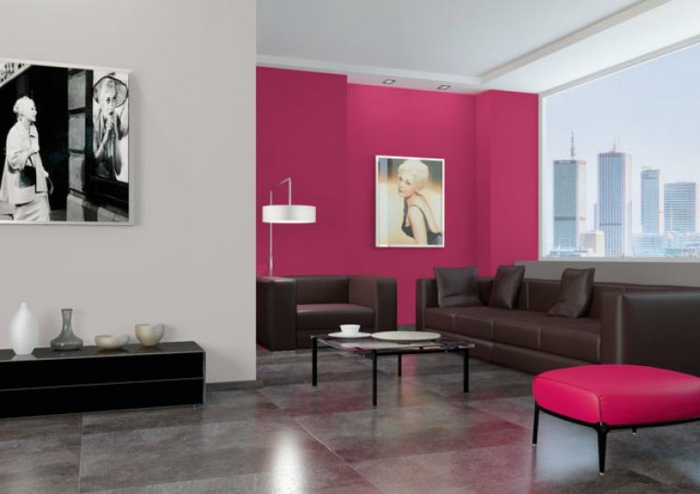 comment peindre un salon, peindre une chambre en deux couleurs, tabouret rose, petite table basse, sofas couleur foncée