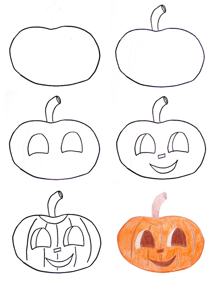 dessin de citrouille tres facile à colorier pour activité enfant halloween