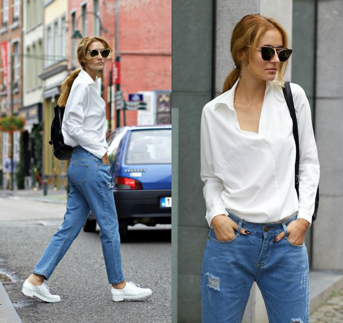 Look année 80, vêtements d'occasion musique populaire glamour look jean et chemise blanche, julia roberts style