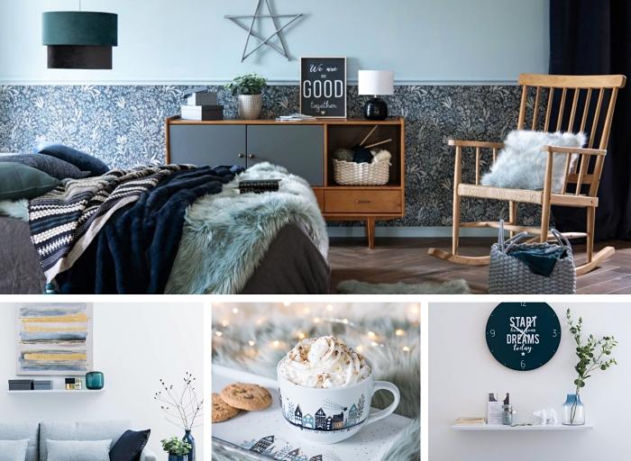 comment intégrer les nuances bleues dans une déco moderne et relaxante, modèle de chambre à coucher aménagée en style scandinave
