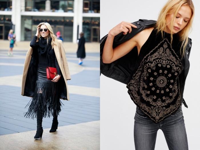 Comment bien porter les cuissardes, tenue avec cuissardes, look automne avec cuissarde velours noir et jupe bohème