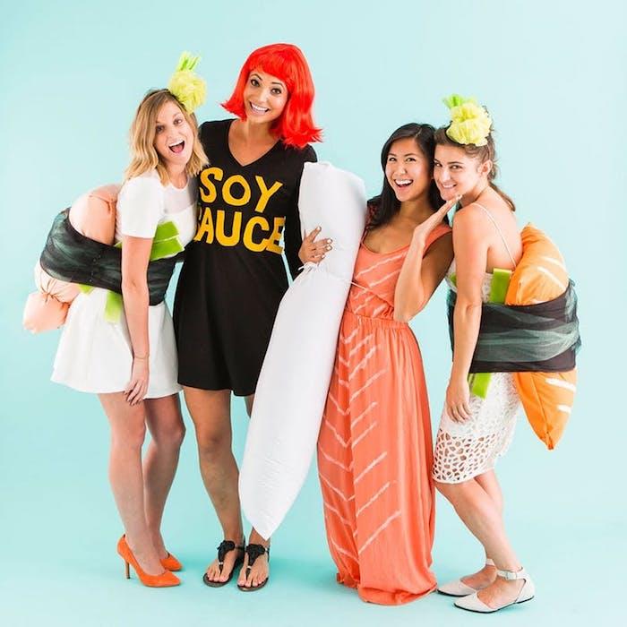 Idee costume facile et cool, idée déguisement groupe, déguisement personnage célèbre facile, sushi et soy sauce
