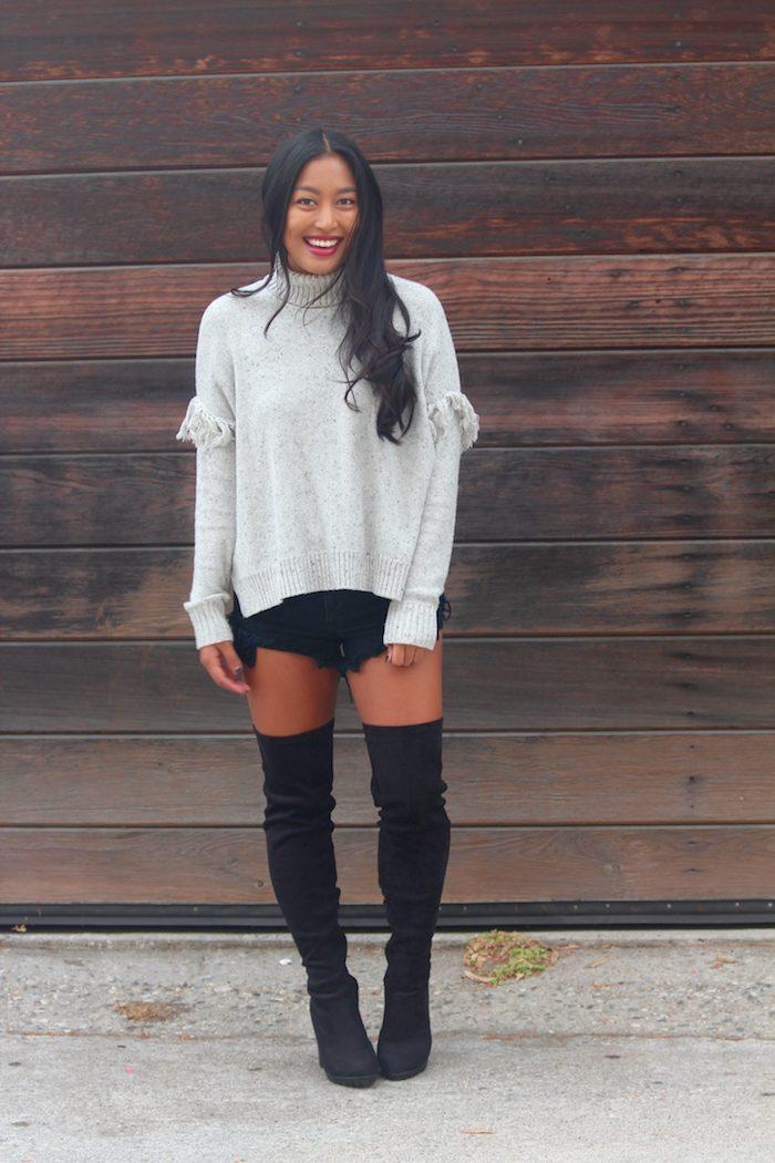 Mignonne tenue avec cuissarde et pantalon court, femme jolie photo de tenue de jour simple et chic