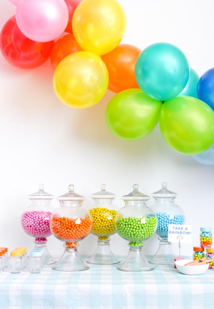 Cool idée pour joyeux anniversaire 18 ans, décoration anniversaire 18 ans, ballons et bonbons arc en ciel