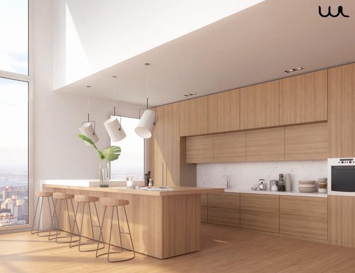 modèle de cuisine moderne blanc et bois à plafond haut et grandes fenêtres aménagée avec îlot central tendance