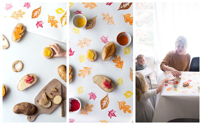 tampo en patate sculpté en motif feuille morte pour decorer une nappe, idée d activité manuelle primaire à réaliser avec maman