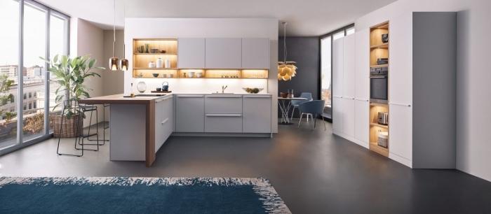 exemple de design intérieur accueillant dans une petite cuisine avec ilot central ouverte vers le salon aménagée avec meubles bois