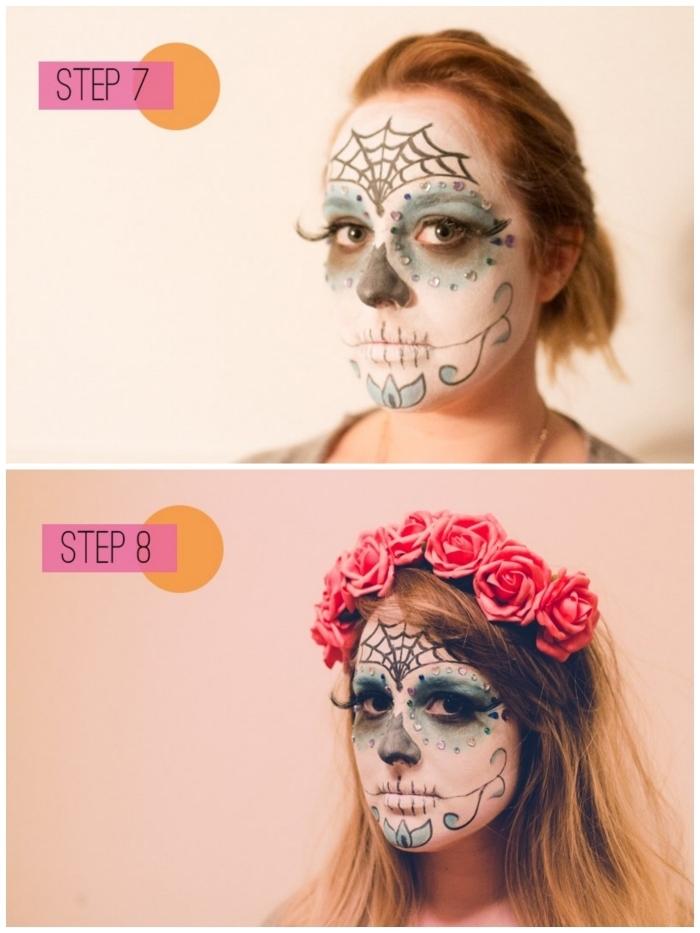 l'étape finale du maquillage squellette facile, comment faire un maquillage tête de mort mexicaine aux motifs d'halloween