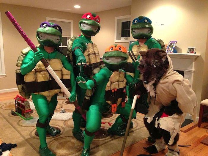 Costumes de teenage mutant ninja turtles, deguisement de groupe, original déguisement halloween fait maison