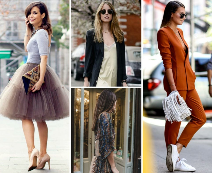 tenue bohème de mariage, jolie jupe bouffante, escarpins poudre, costume orange, tailleur femme chic, tenue de mariage femme invitée