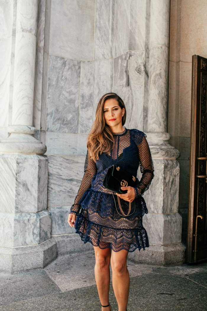 robe habillée pour une invitée de mariage, sac noir, dentelle plumetis, tenue champetree