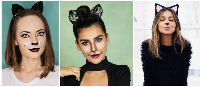 maquillage de chat mignon très facile à réaliser pour un déguisement d'halloween de dernière minute, à compléter avec une serre-tête yeux de chat